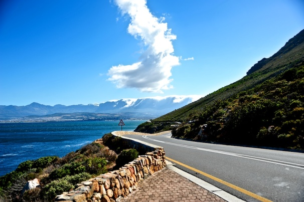 Coastal Road near Gordon's Bay with the Hottentots Hollands mountains in the background.